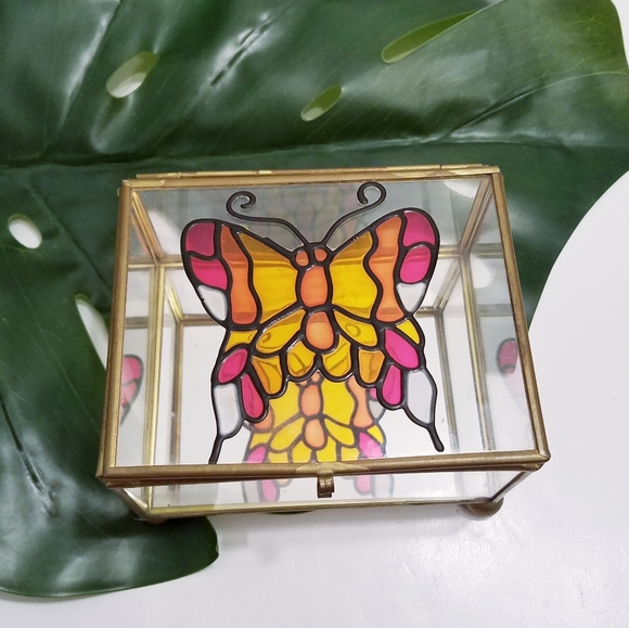 Stained Glass Butterfly Glass Trinket Jewelry Box